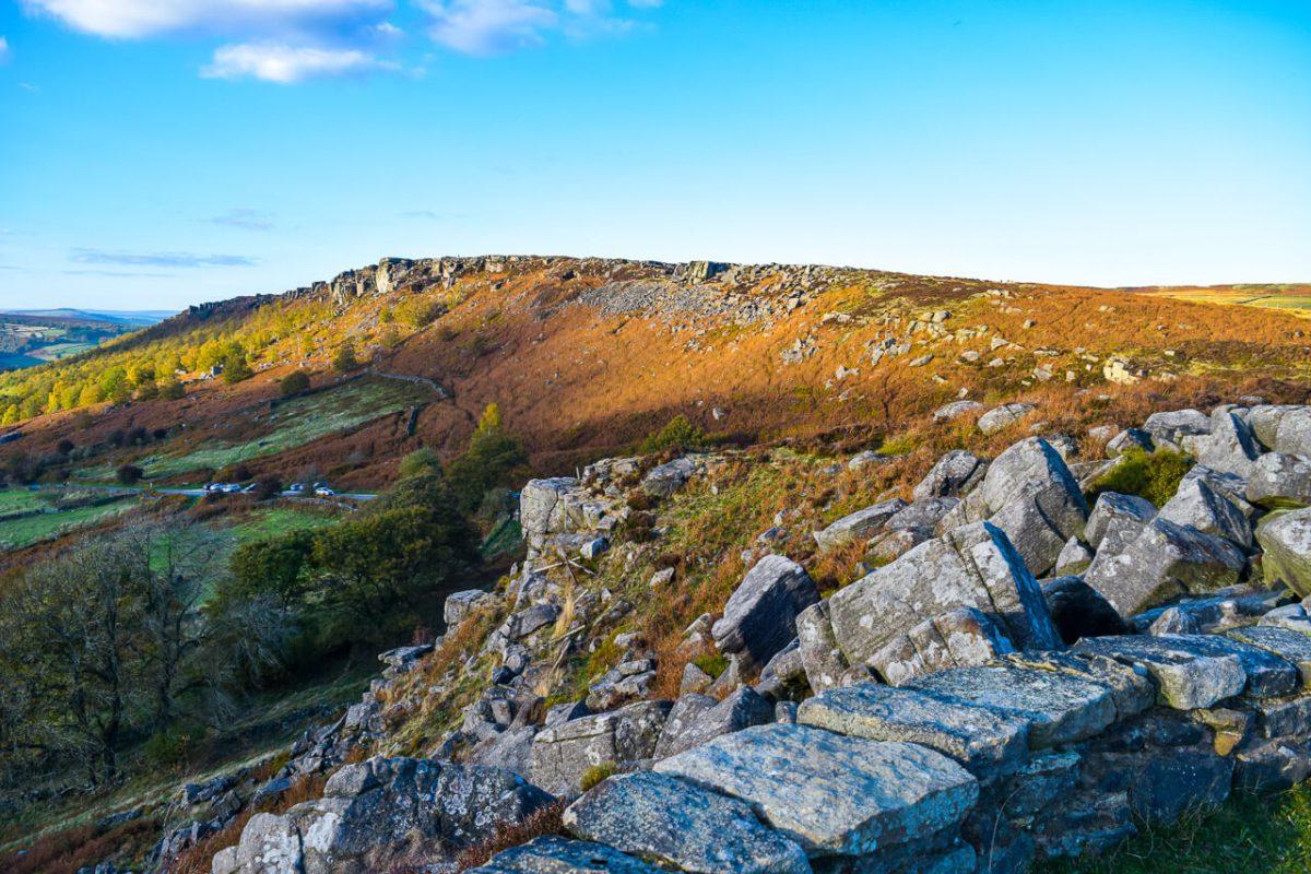Blue sky and rocky terrain