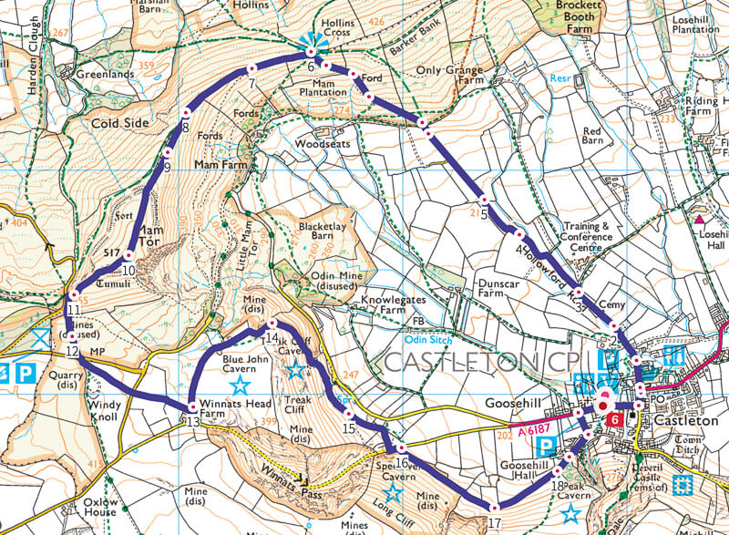 Mam Tor walk map from Castleton 5 miles