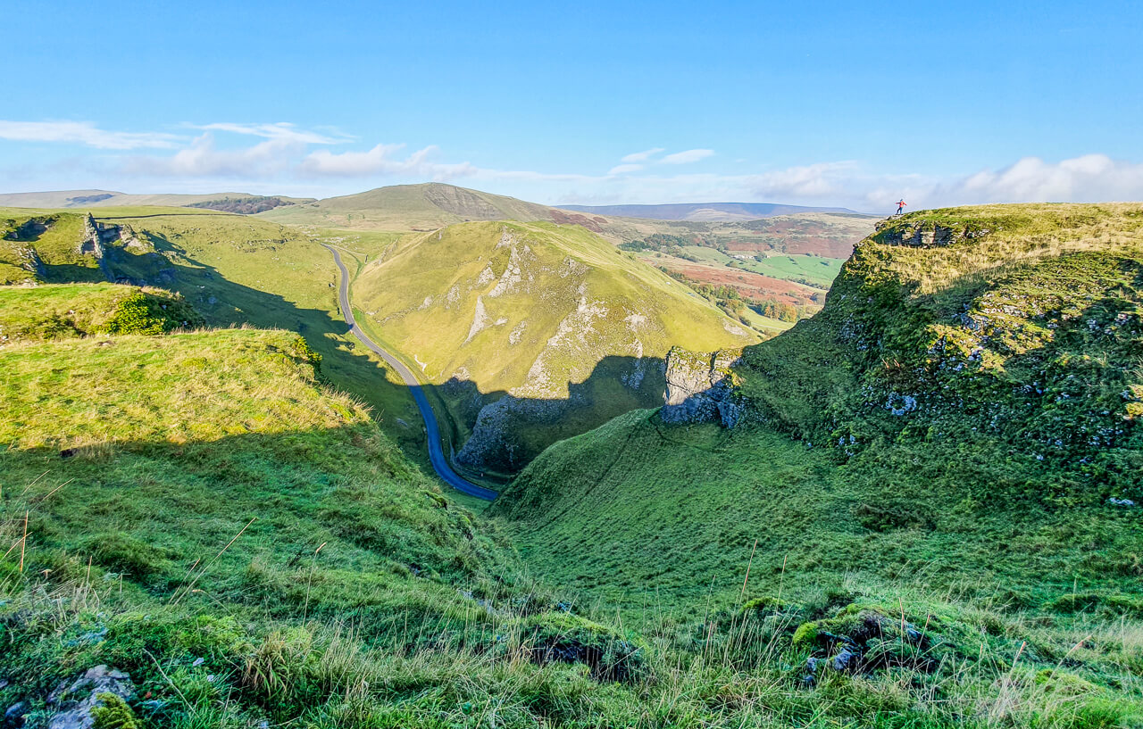 Hills and blue sky from Winnats Pass