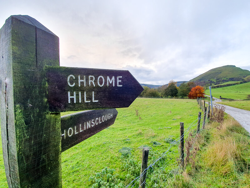 Chrome Hill sign on way back to Hollinsclough