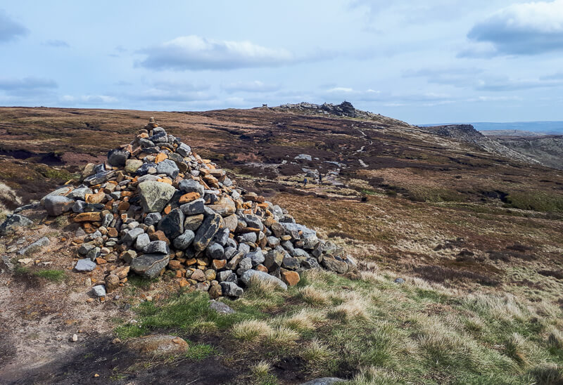 Cairn as the path join Pennine Way trail