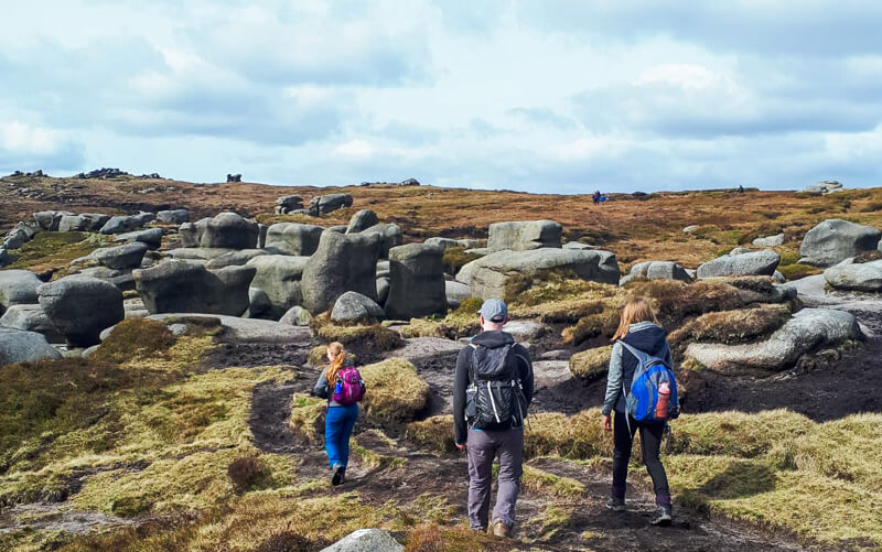 Walking across Kinder Scout plateau