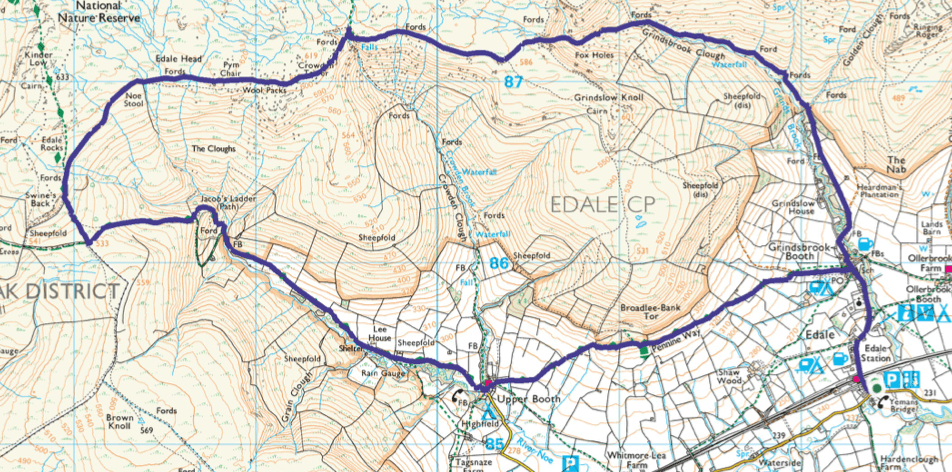Kinder Scout walk from Edale via Grindsbrook 8 mile route map
