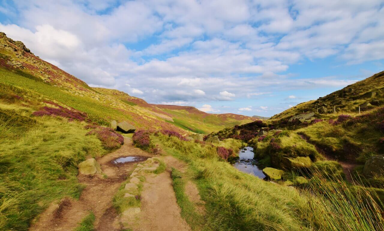 Path up Grindsbrook Clough to Kinder Scout