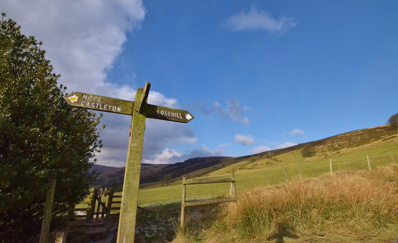 Sign towards Lose Hill