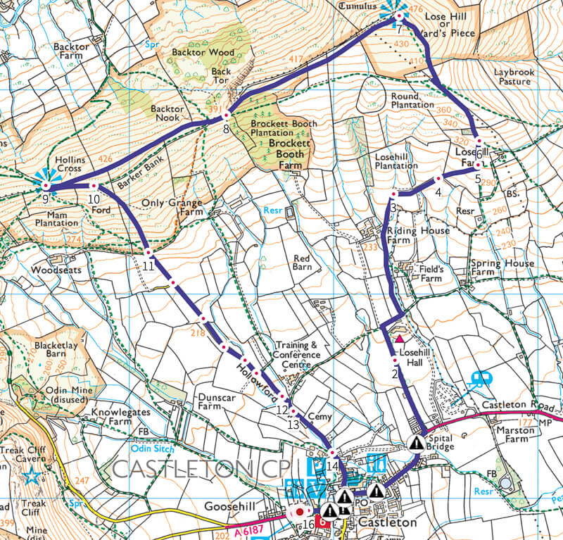 Lose Hill walk from Castleton_Peak District_Map