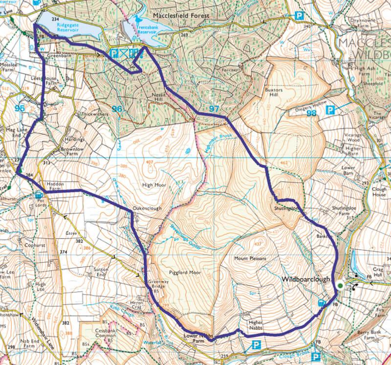 Shutlingsloe walk from Wildboarclough via Macclesfield Forest Map