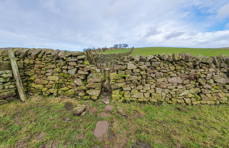 Stone stile on the Three Shires Head walk