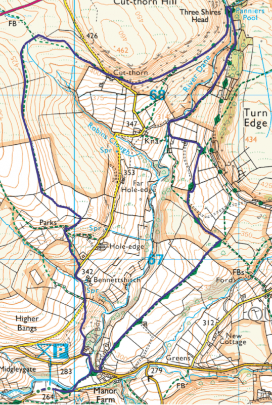 Three Shires Head short walk map - 5 miles-2