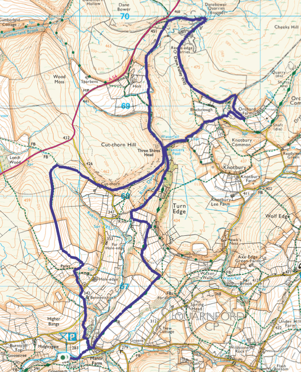 Three Shires Head walk map Peak District