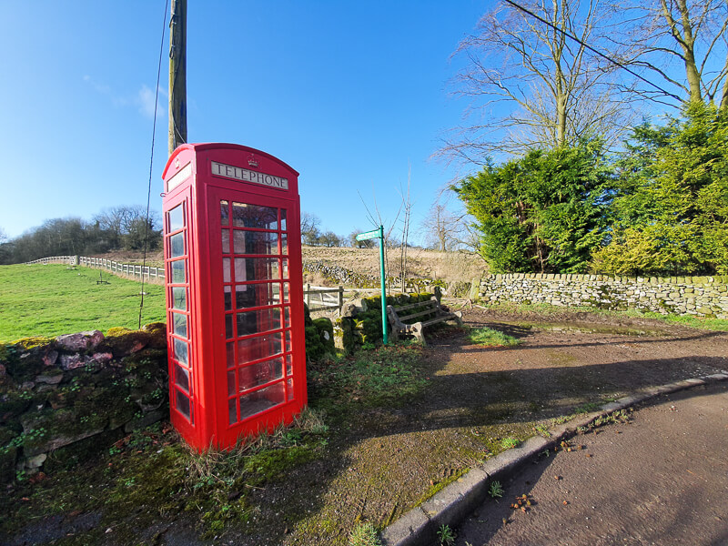 Phone box near Gratton Dale