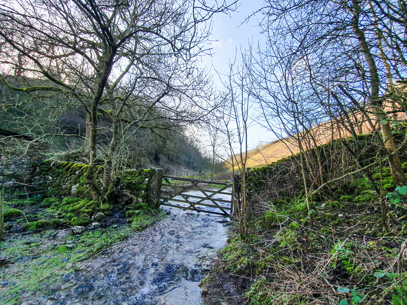 Flooded section of path Gratton Dale