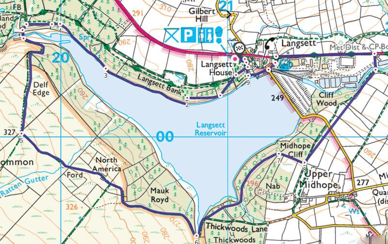 Langsett Reservoir walk map