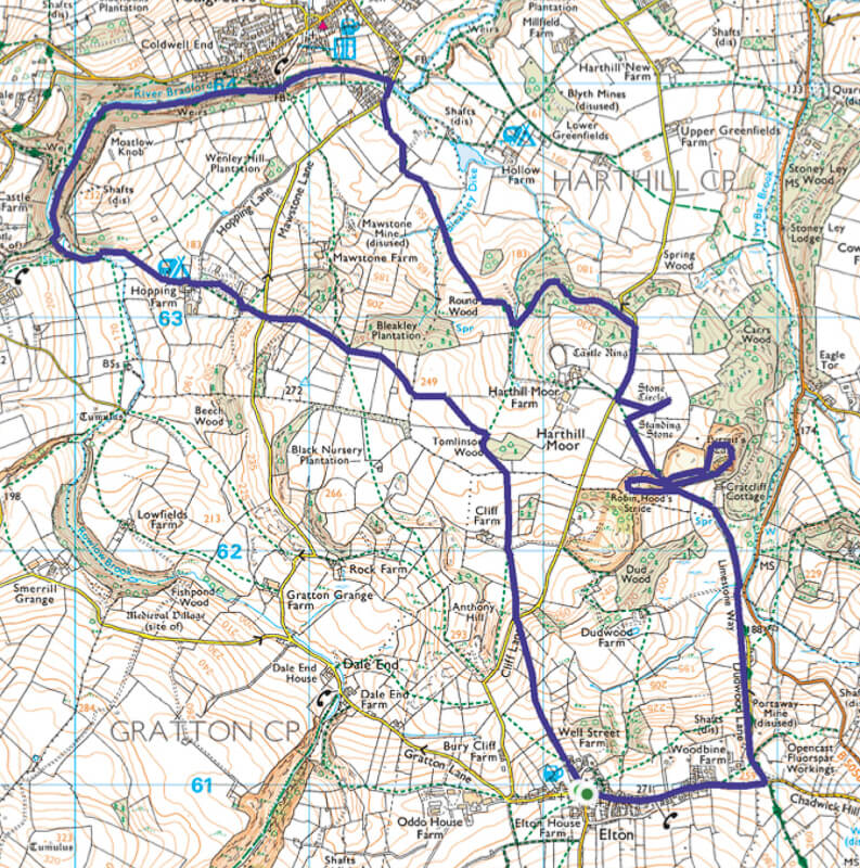 Robin Hood's Stride and Bradford Dale map