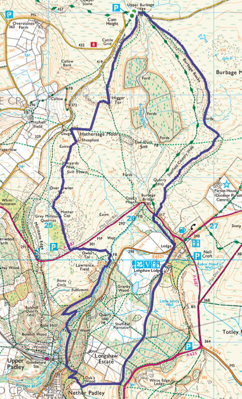 Burbage Edge + Padley Gorge Walk Map