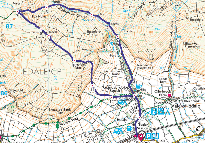 Grindslow Knoll walk map