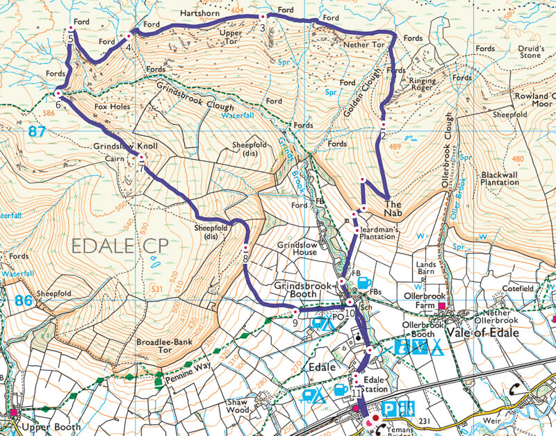 Grindslow Knoll walk map from Edale