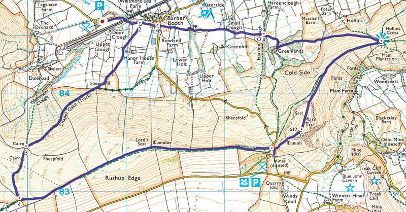 Rushup Edge and Mam Tor walk map