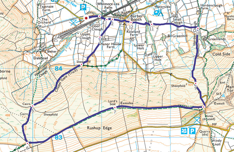 Rushup Edge short walk map in Peak District