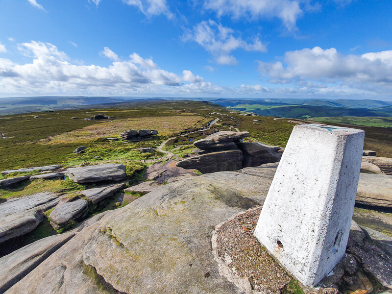 Trig point on rocks at Back To