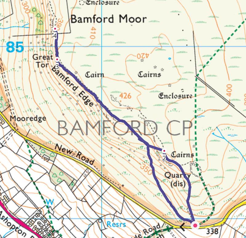 Map of Bamford Edge