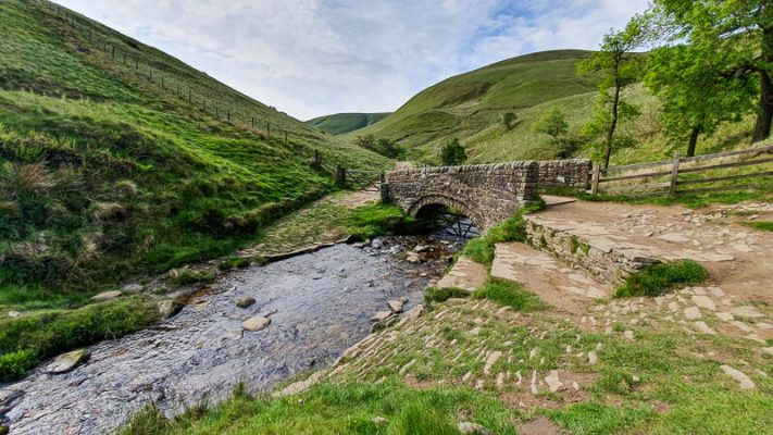 Bridge with stream and trees