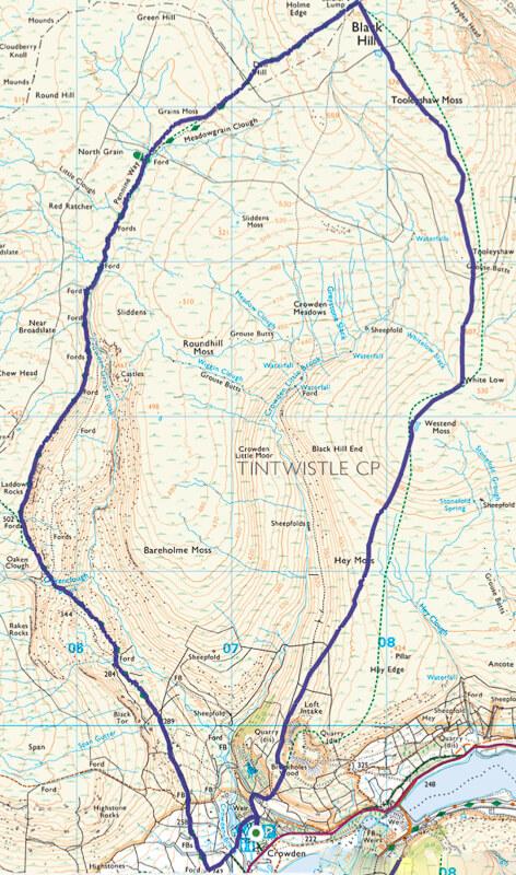 Crowden walk map in Peak District