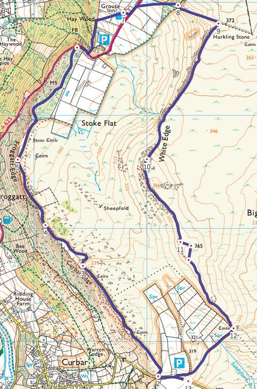 Curbar Edge walk Map route