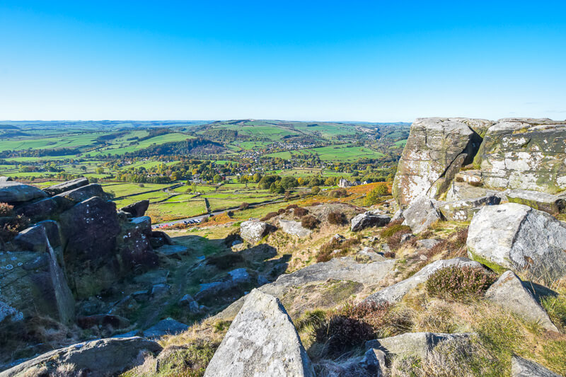 Gritstone rocks and views