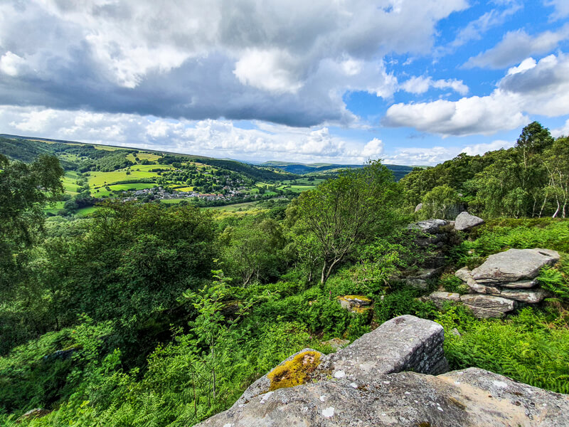 Views from Froggatt Edge - green trees and blue skies
