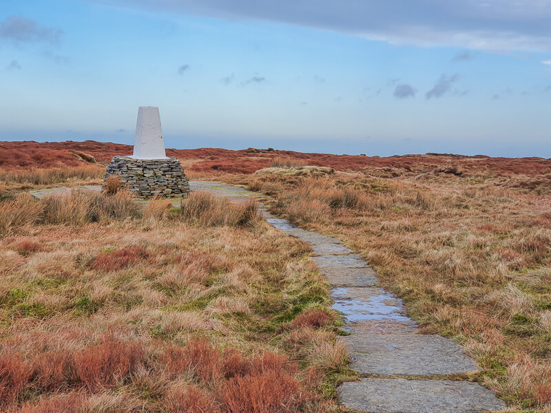 Flagstones leading to Trig Point at Black Hill