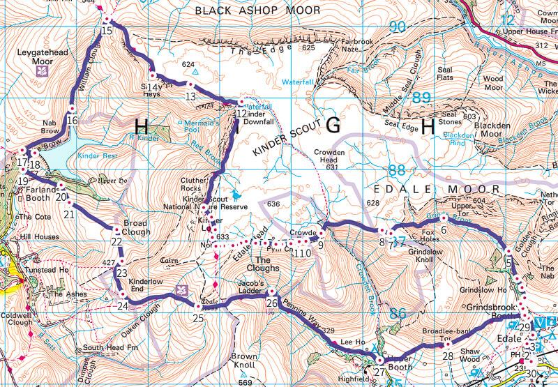 Kinder Scout walk map in Peak District