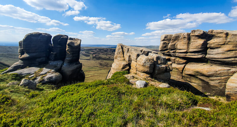 Rock formations on the edge of Kinder Scout plateau