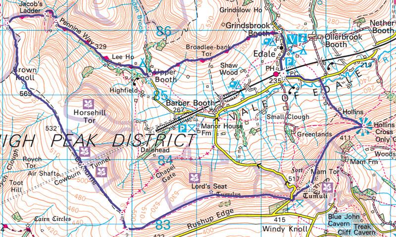 Mam Tor Walk Map Peak District