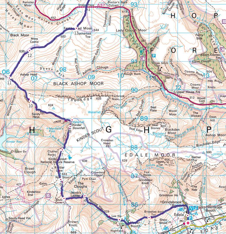 Pennine Way map Peak District