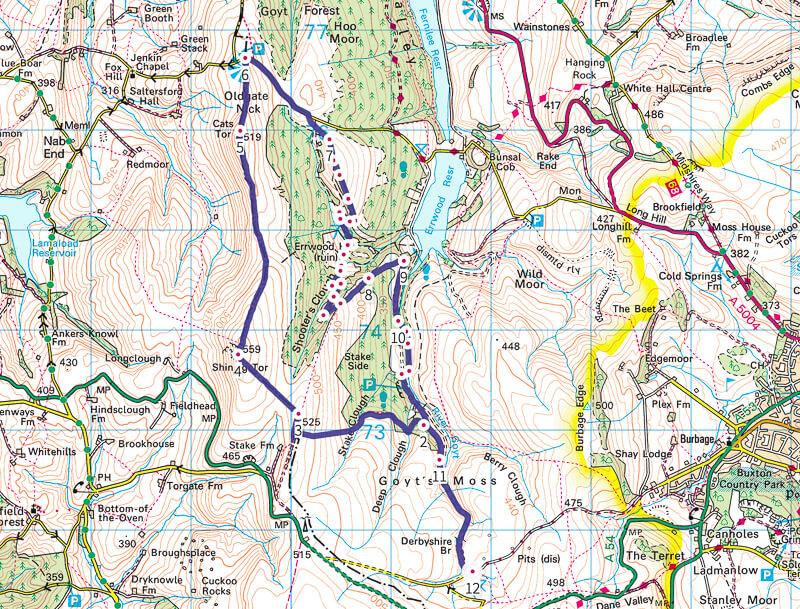 Shining Tor + Goyt Valley map