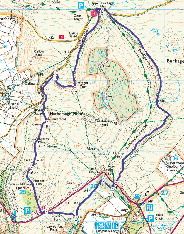 Peak District walk map