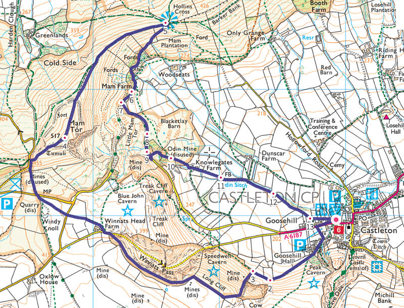 Winnats Pass walk map