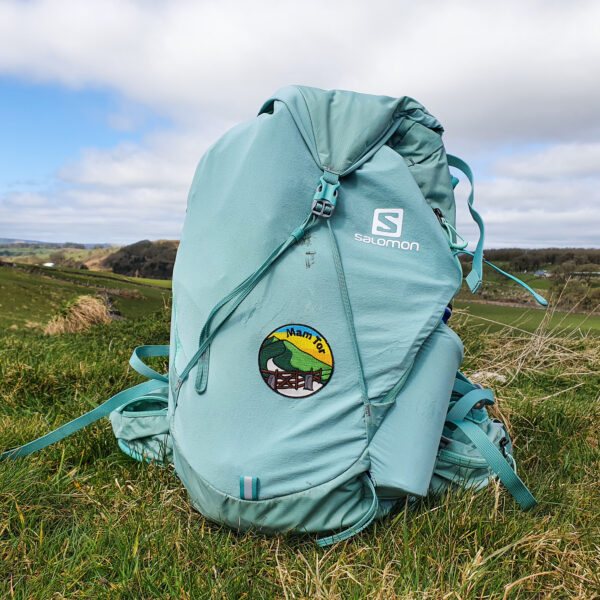 Mam Tor patch on backpack