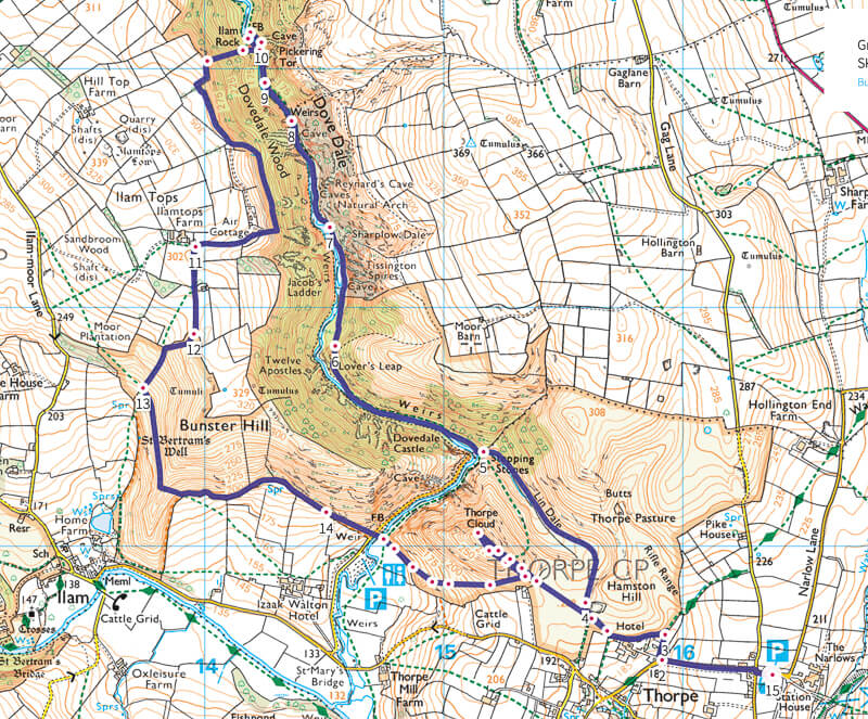Dovedale walk map in Peak District