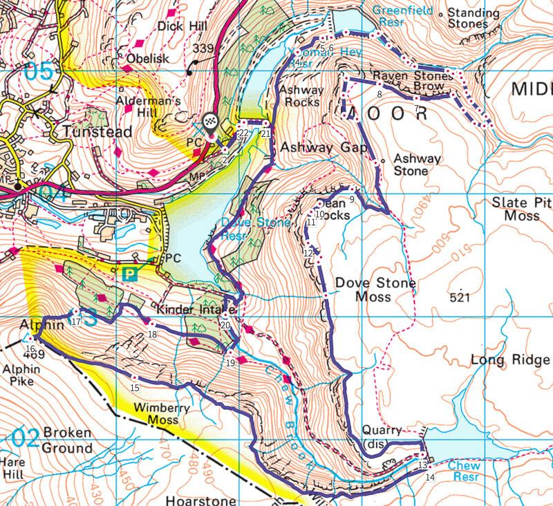 Dovestone Reservoir Map