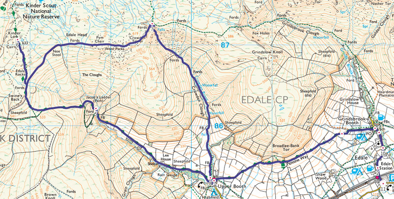 Edale walk Map in Peak District