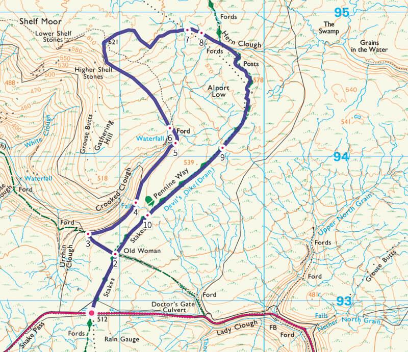 Short walk map to Higher Shelf Stones