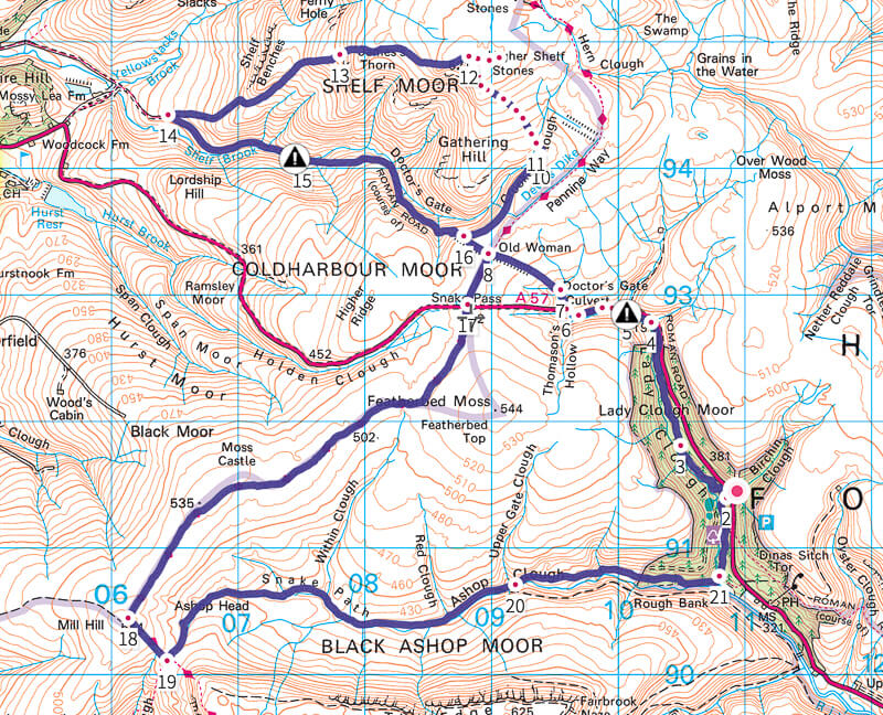 Higher Shelf Stones + Mill Hill walk map
