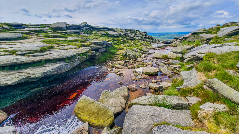 Peat river and rocks at Kinder Downfall