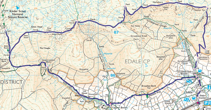 Kinder Scout walk via Ringing Roger map