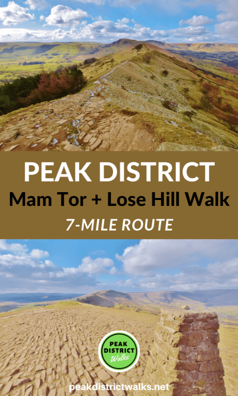 Pin with 2 Peak District photos of hills and trig point