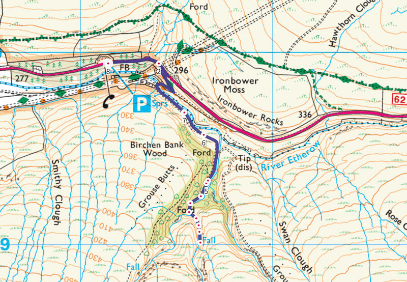 Middle Black Clough Waterfall Walk Map