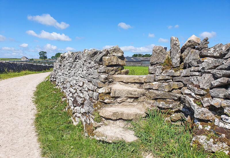Stone steps into field