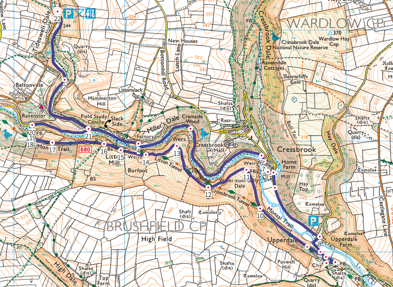 Tideswell Dale, Miller's Dale + Monsal Trail walk map